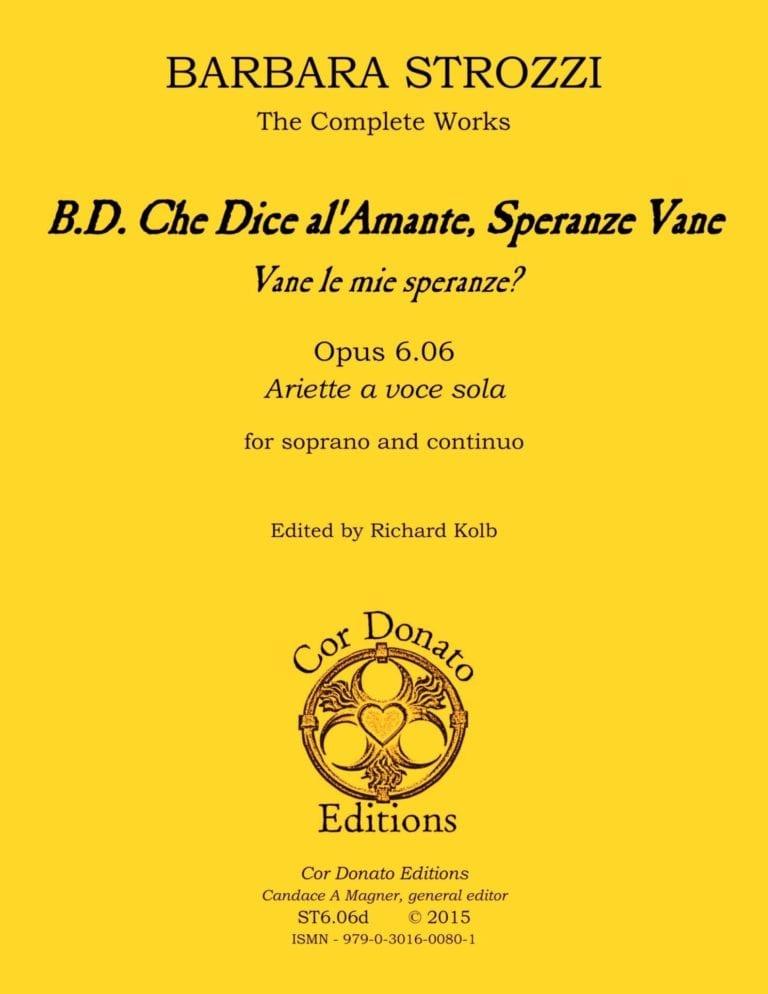 Cover of B.D. Che Dice al'Amante, Speranze Vane