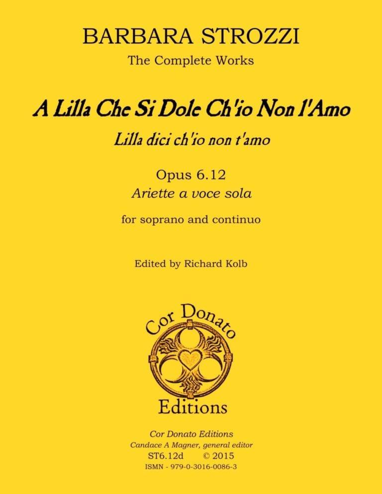 Cover of A Lilla Che Si Dole Ch'io Non l'Amo