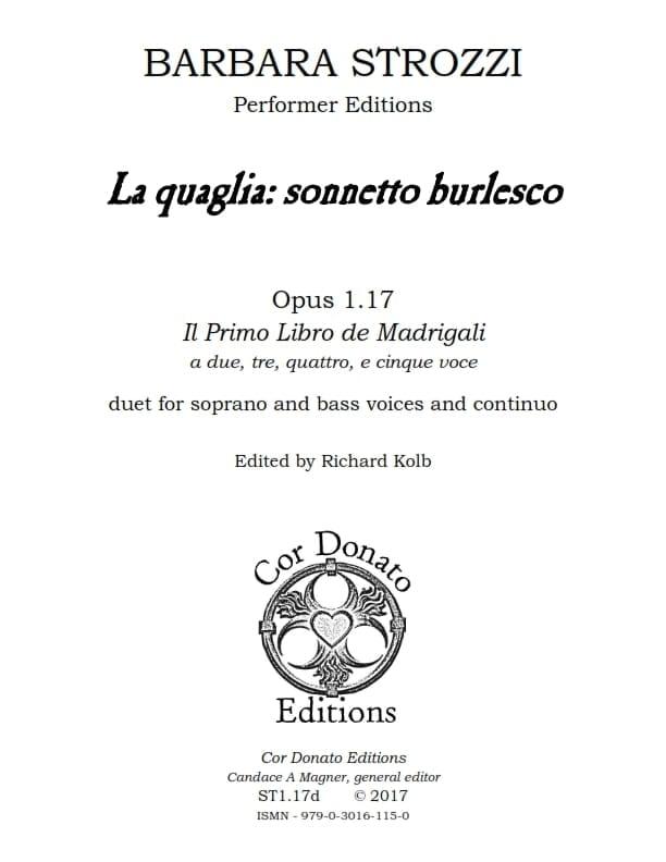 Cover of La Qualglia: Sonnetto Burlesco