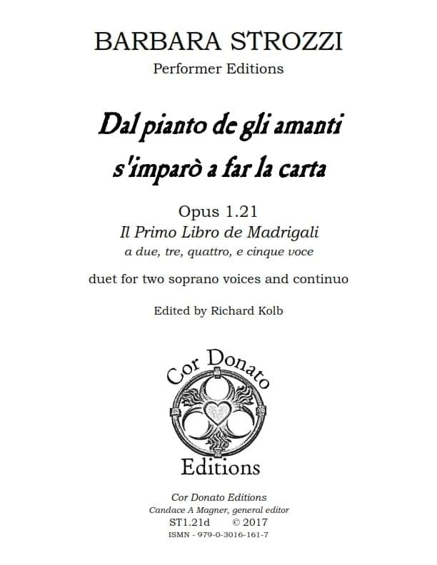 Cover of Dal Pianto de gli Amanti s'Imparò a Far La Carta