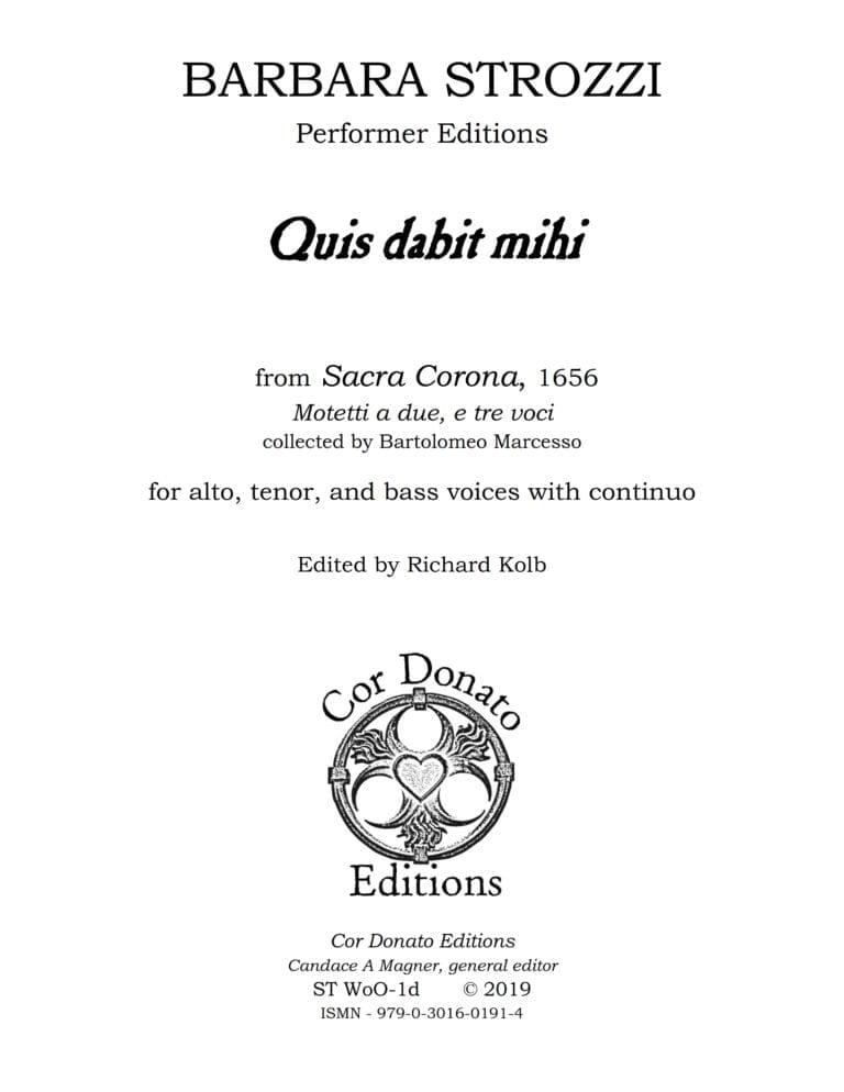 Cover of Quis Dabit Mihi